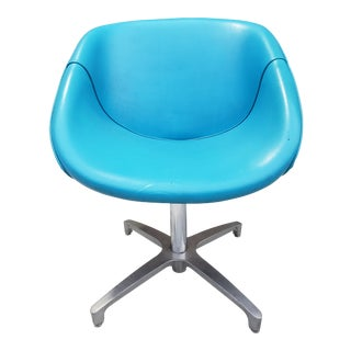 Mid-Century Modern Blue Vinyl Swivel Chair For Sale