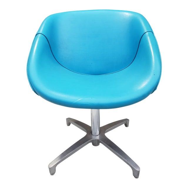 b843047f1 Mid-Century Modern Blue Vinyl Swivel Chair For Sale. Mid-Century Modern  vinyl swivel lounge chair in a beautiful turquoise ...