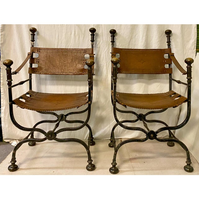 Mid 20th Century Pair of Italian Leather and Iron Campaign Style Chairs For Sale - Image 5 of 5