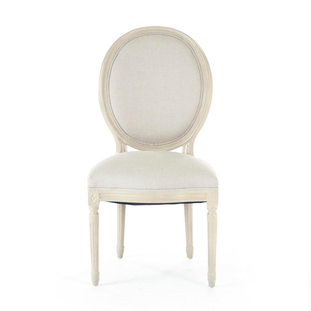 2020s Everest Medallion Side Chair in Natural Linen For Sale - Image 5 of 5