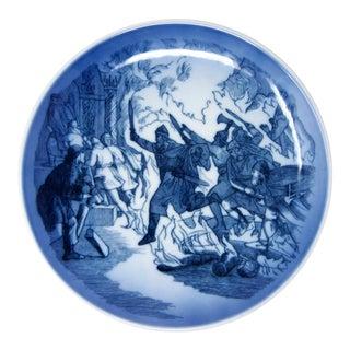 Vintage Danish Viking Legend of Rolf Krake Blue & White Wall Plate by Royal Copenhagen For Sale