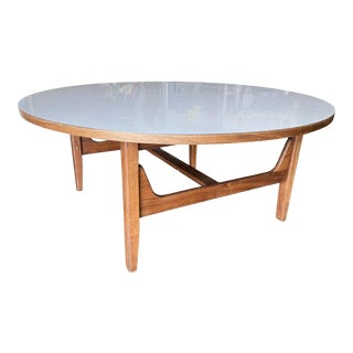 Danish Mid-Century Round Coffee Table With White Laminate Top For Sale