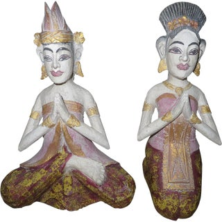 Wooden Balinese Couple - A Pair For Sale