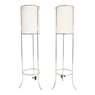 Tripod Nickel Floor Lamps by t.h. Robsjohn-Gibbings for Hansen - a Pair For Sale