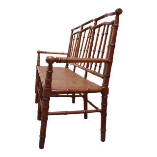 Mid-20th Century Faux-Bamboo Settee Bench in Cherrywood