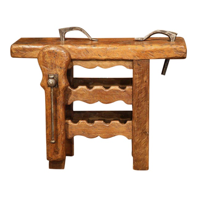 19th century rustic french carpenter press table with wine for Table th width ignored