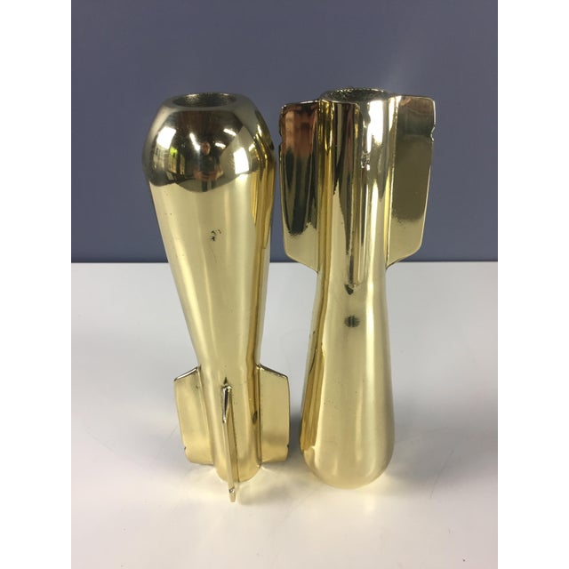 Mid-Century Modern WWll Era Brassed Mortar Shell Paperweights or Bookends - a Pair For Sale - Image 3 of 7