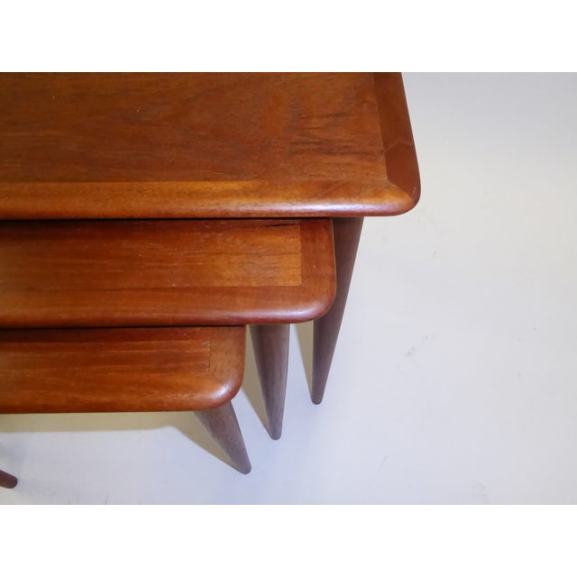 Danish Mid-Century Modern Stacking Nesting Tables in Teak - Set of 3 1950s For Sale - Image 10 of 13
