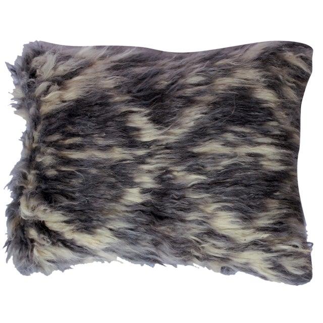 "Debrah Gray/Ivory Handmade Moroccan Wool Throw Pillow(15""x15"") For Sale"