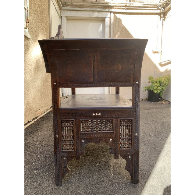 Vintage Mother of Pearl Inlay Morrocan Bench For Sale In Los Angeles - Image 6 of 12