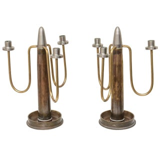 Mid-Century WWII Trench-Art Shell Casing 3-Arm Candlesticks - a Pair For Sale