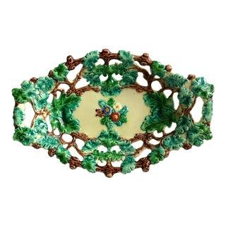 1800's Antique English Majolica Oak Leaf Tray For Sale