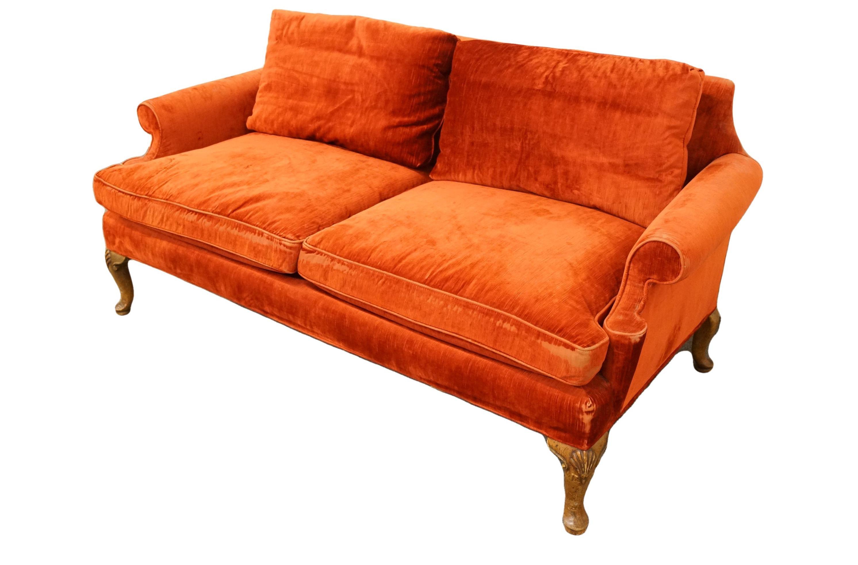 Henredon Furniture Rust Red Upholstered Loveseat Sofa Chairish