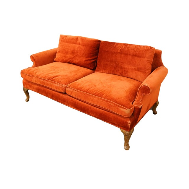 "HENREDON FURNITURE Rust Red Upholstered Loveseat / Sofa 28"" High 64"" Wide 33"" Deep Seat: 18"" High Arms: 22.5"" High We..."