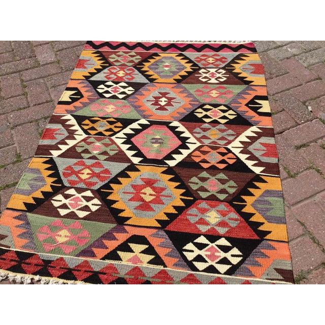 Colorful Vintage Turkish Kilim Rug For Sale - Image 4 of 10