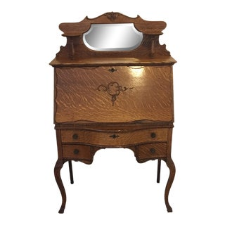 19th Century Victorian Oak Ladies Secretary Desk For Sale