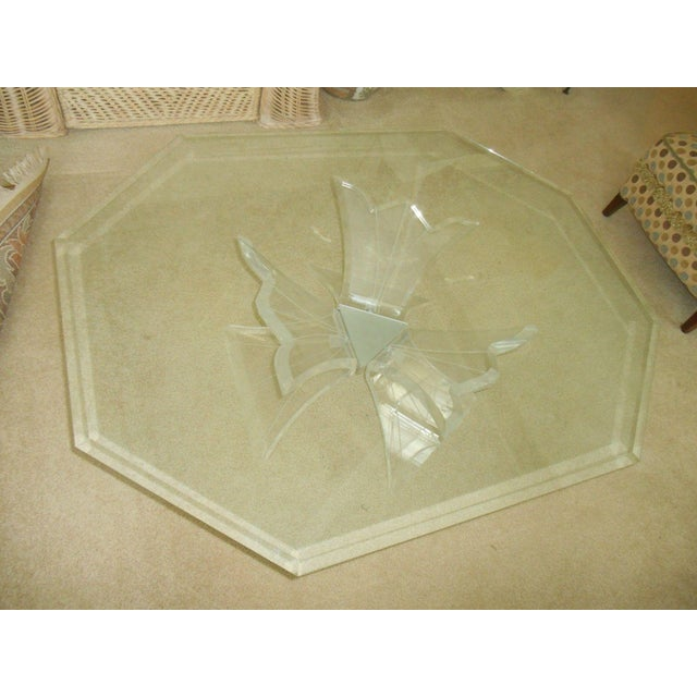 Mid-Century Modern Mid-Century Lucite Base & Glass Top Cocktail Table For Sale - Image 3 of 7