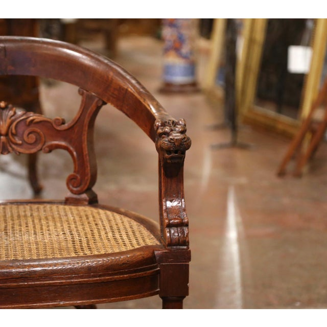 19th Century French Louis XIII Carved Oak Barley Twist and Caning Desk Armchair For Sale In Dallas - Image 6 of 12