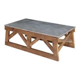 Sarreid LTD Pine & Marble Coffee Table For Sale
