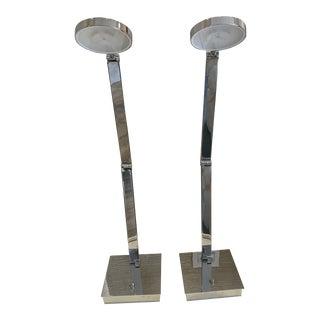 Mondoluz Modern Chrome Table Lamps - a Pair For Sale