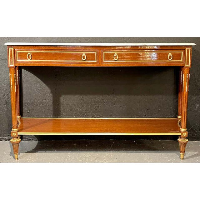 Stone Pair of Louis XVI Style Marble Top Consoles / Sideboards in the Jansen Manner For Sale - Image 7 of 13