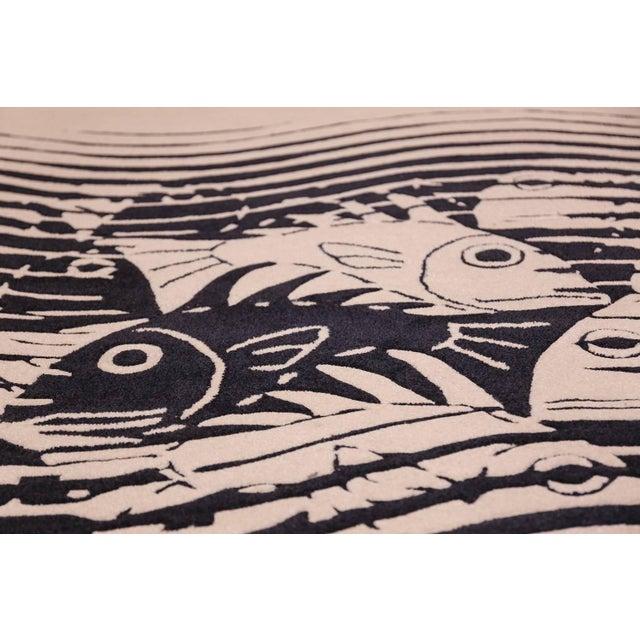 Escher Vintage Maurits Escher Scandinavian Black and White Rug - 5′7″ × 8′ For Sale - Image 4 of 10