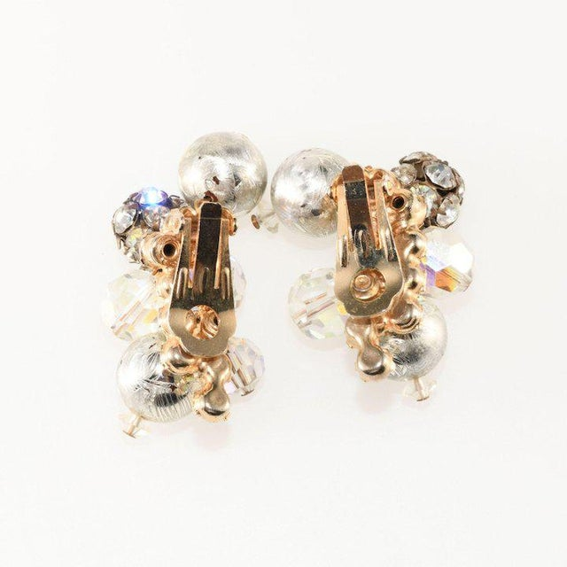 Traditional Juliana Earrings Silver and Rhinestone Balls Dangles For Sale - Image 3 of 4