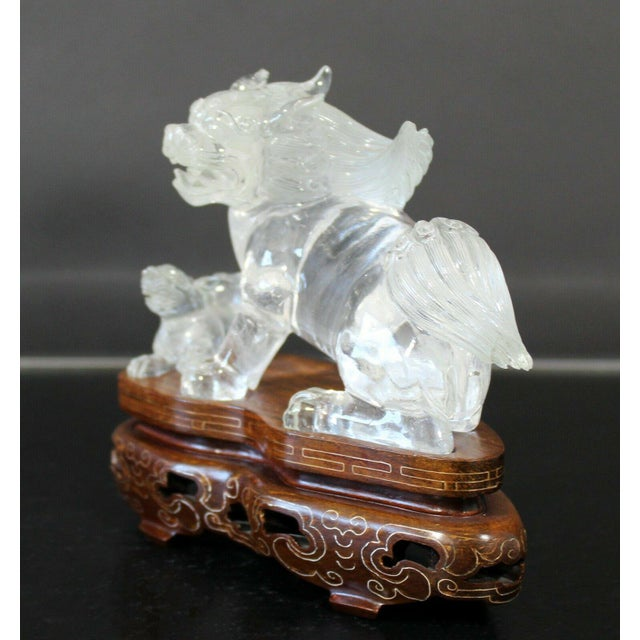 Chinese Rock Crystal Glass Fu Dog Statuette Wood Base Table Sculpture For Sale - Image 9 of 11