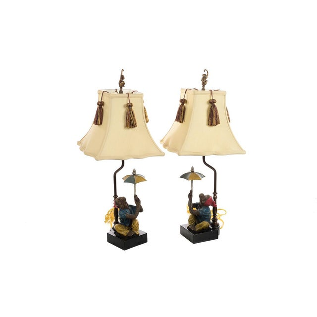 Monkeys Holding an Umbrella -Beautiful Vintage Table Lamps-A Pair For Sale - Image 10 of 10