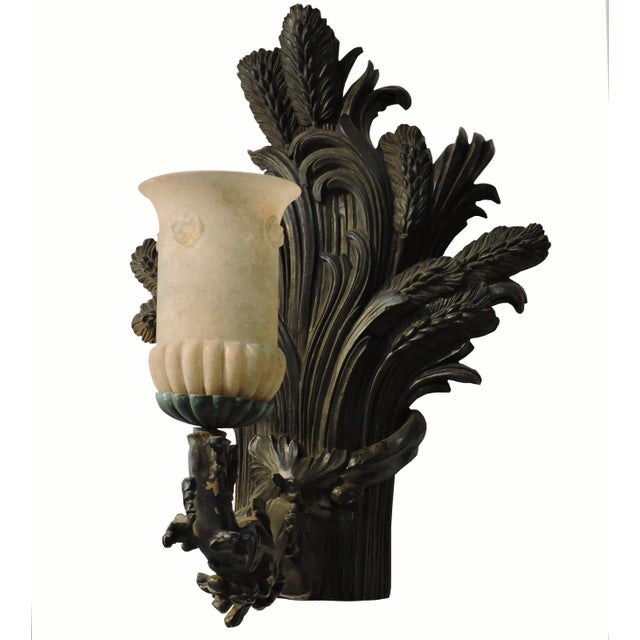 Well gestured bronze wheat sheaf sconces, slightly patina'd, with apparent kernels and Murano glass lamps. Sold as a pair,...