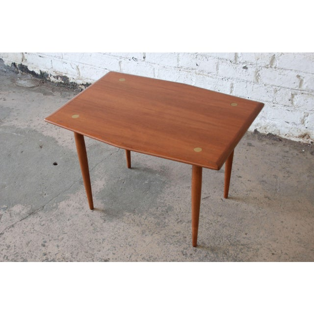 Swedish Modern Teak and Brass Side Table by Dux For Sale - Image 10 of 10