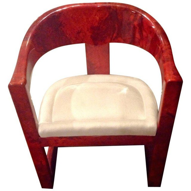 Stunning Karl Springer Oaniss Chair, in Red Goatskin For Sale In Atlanta - Image 6 of 6