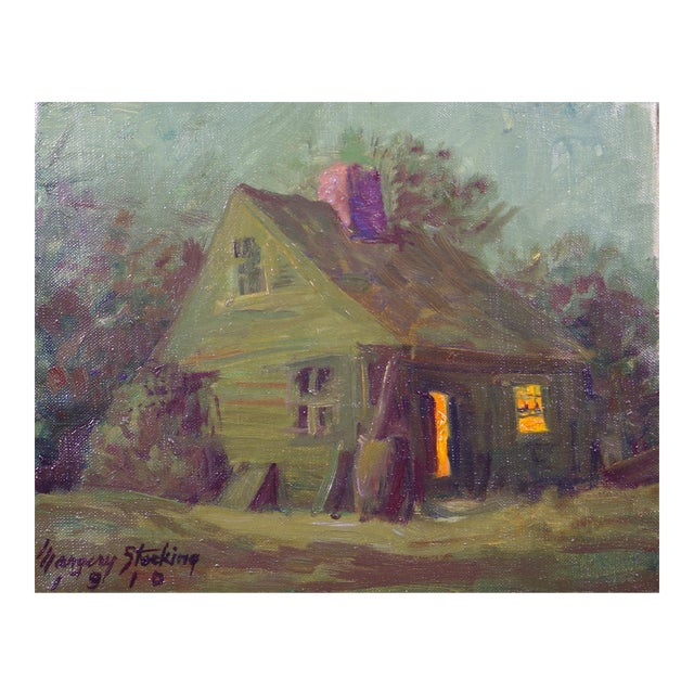 """""""Cottage in the Moonlight"""" Vintage Oil Painting Margery (Stocking) Hart California/Connecticut Artist For Sale"""