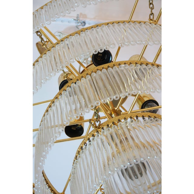 Metal Mid-Century Scolari Murano 7-Light Tiered Glass Tubes Chandelier For Sale - Image 7 of 10