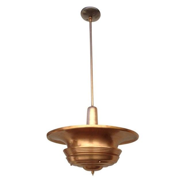Art Deco Copper Art Deco Ceiling Hanging Pendant For Sale - Image 3 of 8