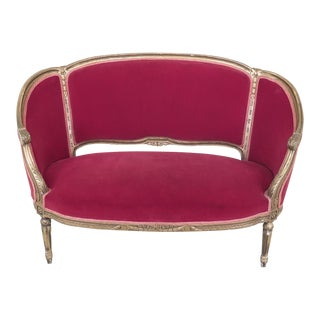 French Louis XV Style Gold Gilt Red Velvet Loveseat For Sale