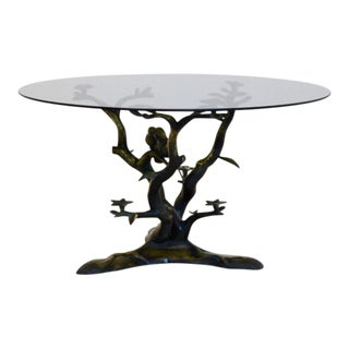 Willy Daro Sculptural Brass Tree LoveBirds Coffee Table For Sale