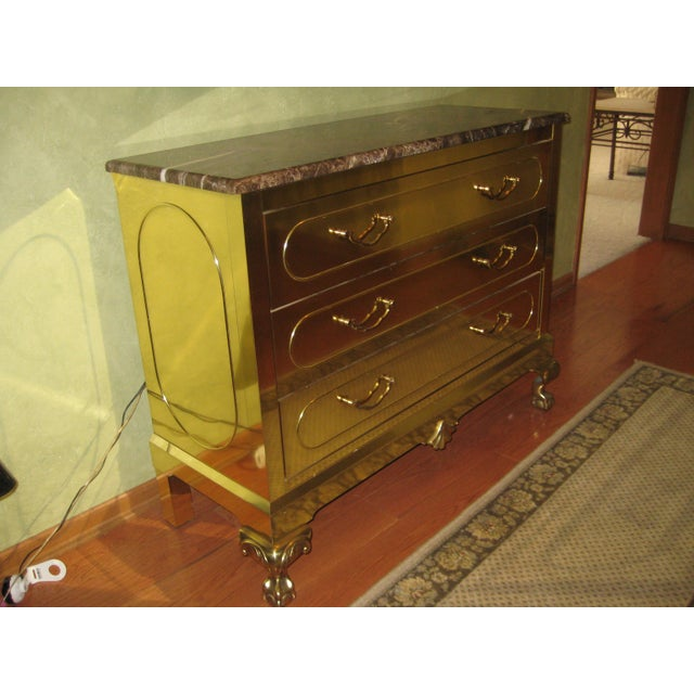 Beautifully kept Vintage Harden storage chest. Brass exterior with a Chippendale appearance. Claw and Ball feet in front...