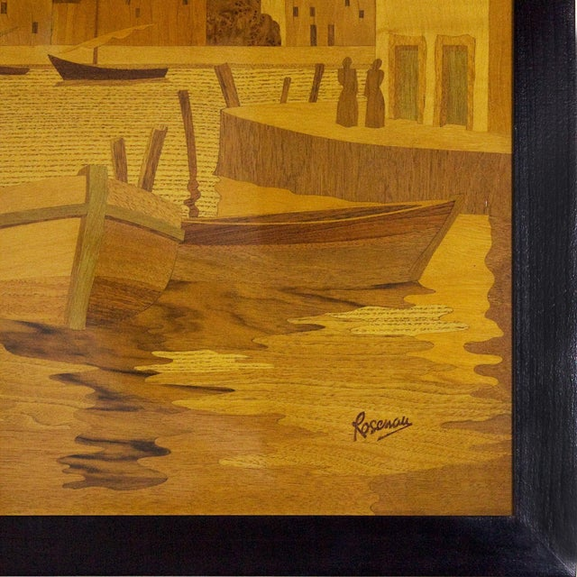 1940s 1940s Large Decorative Panel by Rosenau, Fishing Port Scene, Marquetry, France For Sale - Image 5 of 7