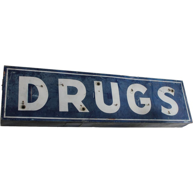 "Vintage Industrial Metal Neon ""Drugs"" Sign For Sale"