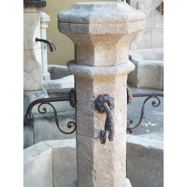 Early 21st Century Octagonal Limestone Center Fountain From Provence, France For Sale - Image 5 of 11