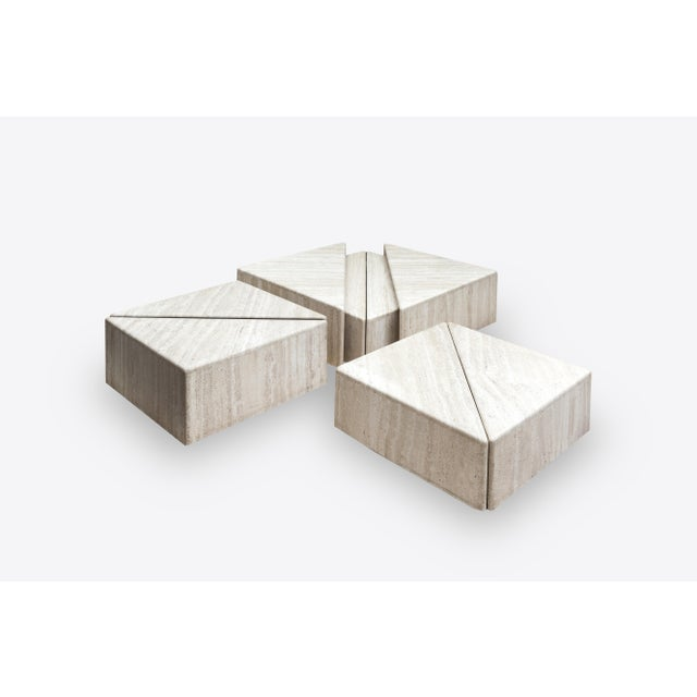 A Large Set of Eight Travertine Elements Forming One or More Coffee Tables For Sale - Image 11 of 11
