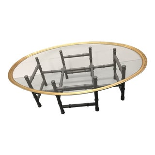 Vintage Faux Bamboo & Brass Tray Top Coffee Table For Sale