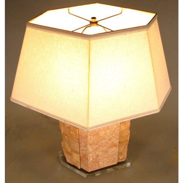 a beautiful vintage 1970's table lamp by Bauer Lamp Company. formed in a combination of polished and rough marble in pale...