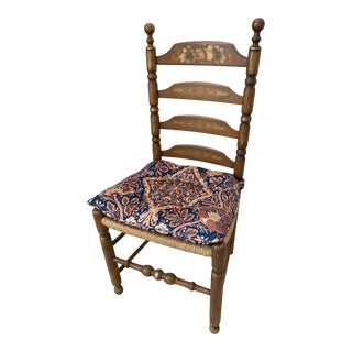 Vintage Hitchcock Stenciled Ladder Back Rush Seat Accent Chair For Sale