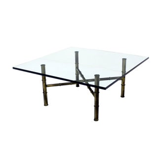 X Base Brass Faux Bamboo Square Glass Top Coffee Table For Sale