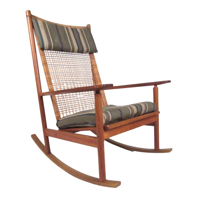 Scandinavian Modern Teak and Cane Rocking Chair by Hans Olsen For Sale