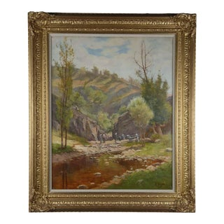 Oil on Canvas, Washers in River Landscape Signed Ab Laurens, English, Circa 1880 For Sale