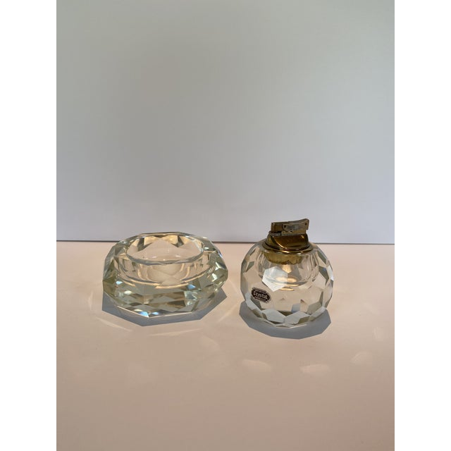 Vintage Crystal Table Lighter and Ashtray For Sale In Los Angeles - Image 6 of 6