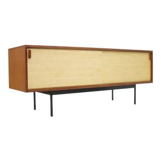 Teak Sideboard With Seagrass Sliding Doors by Dieter Waeckerlin, 1950s For Sale